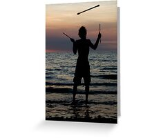 Mindil market entertainment - fire stick silhouette Greeting Card