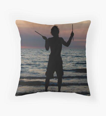 Mindil market entertainment - fire stick silhouette Throw Pillow