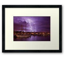 Lightning Behind Santa Barbara Harbor Framed Print
