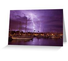 Lightning Behind Santa Barbara Harbor Greeting Card