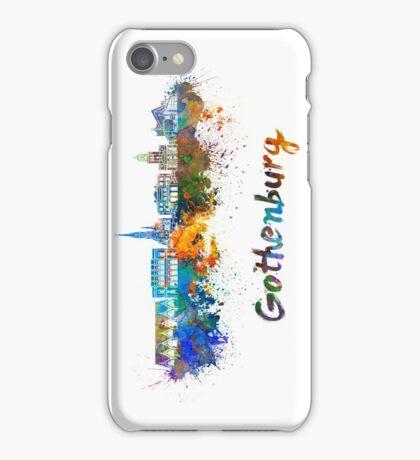 Gothenburg skyline in watercolor iPhone Case/Skin
