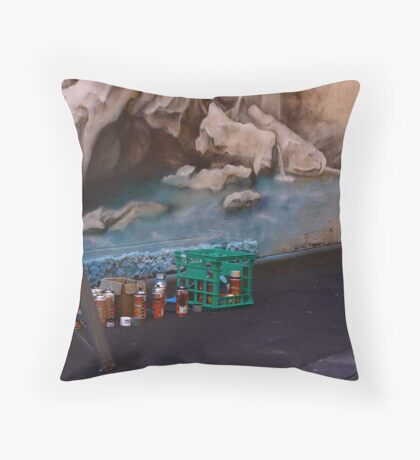 Escapee cap Throw Pillow