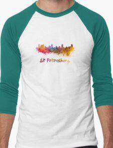 St Petersburg FL skyline in watercolor Men's Baseball ¾ T-Shirt