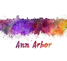 Ann Arbor skyline in watercolor by paulrommer