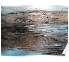 """Large Wall Art , Abstract art, Contemporary art, Original textured painting, Nature Wall Art """"Waters Edge"""" Poster"""