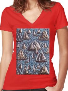 Exclusive: My Creations Artistic Sculpture Relief fact Main 11  PAINT (Photography & Design & Illustration ) (c)(h) by Olao-Olavia / Okaio Créations Women's Fitted V-Neck T-Shirt