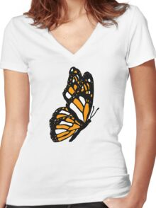 Orange Monarch Butterfly Women's Fitted V-Neck T-Shirt