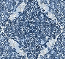 Denim Blue Lace Pencil Doodle by micklyn