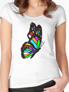 Rainbow Butterfly Women's Fitted Scoop T-Shirt