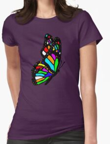 Rainbow Butterfly Womens Fitted T-Shirt
