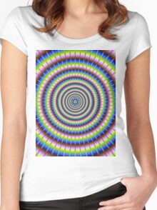 Particles and Waves with Floral Motif Women's Fitted Scoop T-Shirt