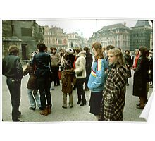 Western Tourists At Prague Square. Poster