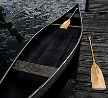 Canoe at Lac Sam, Quebec by Debbie Pinard