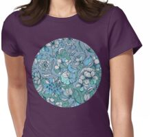 Her Garden in Blue Womens Fitted T-Shirt