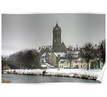 Peebles Old Parish Church in the Snow Poster