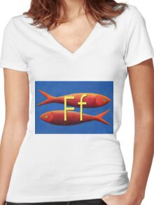 F for fish Women's Fitted V-Neck T-Shirt