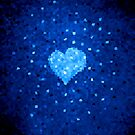 Winter Blue Crystallized Abstract Heart by Boriana Giormova