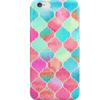 Watercolor Moroccan Patchwork in Magenta, Peach & Aqua iPhone Case/Skin