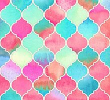Watercolor Moroccan Patchwork in Magenta, Peach & Aqua by micklyn