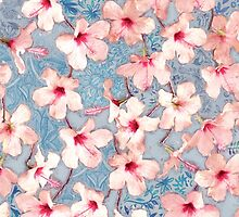 Shabby Chic Hibiscus Patchwork Pattern in Pink & Blue by micklyn