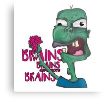 Brains! - Zombie Design - Brains, Brains and more Brains! Metal Print