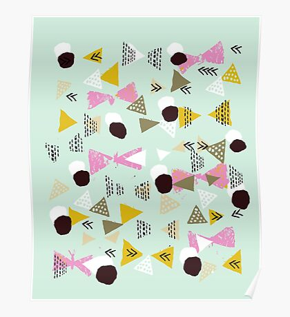 Ralea - abstract design triangle geometric circle print texture dots mid century modern  Poster