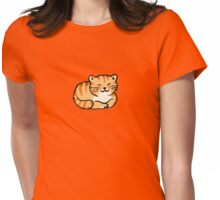Sleeping orange & white pussy cat Womens Fitted T-Shirt
