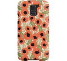 Poppy flower watercolor flowers repeating pattern feminine boho bohemian hipster anthro style fresh Samsung Galaxy Case/Skin