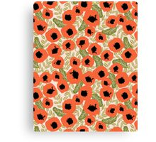 Poppy flower watercolor flowers repeating pattern feminine boho bohemian hipster anthro style fresh Canvas Print