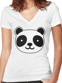 Cute Panda Women's Fitted V-Neck T-Shirt