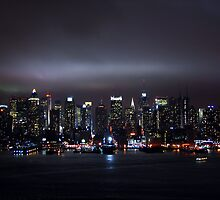Night View of New York City by Caesar Padilla
