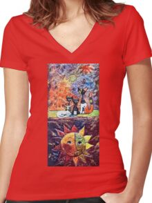Exclusive: My Creations Artistic Sculpture Relief fact Main 9  PAINT (Painting & Mixed Media) (c)(h) by Olao-Olavia / Okaio Créations Women's Fitted V-Neck T-Shirt