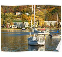 Boats on the Saint Croix in Autumn Poster