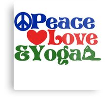 Peace love and yoga Metal Print