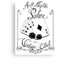 All night poker - Vintage club Canvas Print
