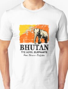 Bhutan Elephant Flag - Vintage Look Unisex T-Shirt