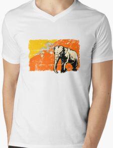 Bhutan Elephant Flag - Vintage Look Mens V-Neck T-Shirt