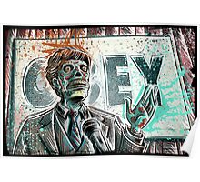 They Live, art, print, john carpenter, 80's, 90's, movie, film, action, sci fi, horror, rowdy, roddy piper, alien, green, face, politician, obey, joe badon Poster