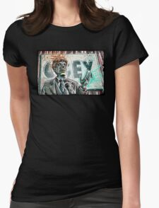 They Live, art, print, john carpenter, 80's, 90's, movie, film, action, sci fi, horror, rowdy, roddy piper, alien, green, face, politician, obey, joe badon Womens Fitted T-Shirt