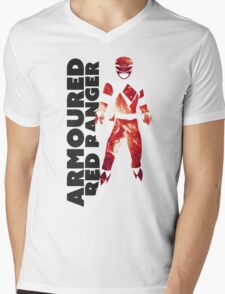 MMPR Armoured Red Print Mens V-Neck T-Shirt