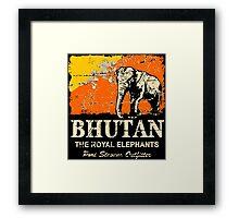 Bhutan Elephant Flag - Vintage Look Framed Print