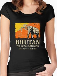 Bhutan Elephant Flag - Vintage Look Women's Fitted Scoop T-Shirt