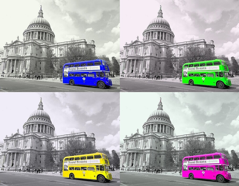 Warhol Style Coloured Routemasters by DavidWHughes