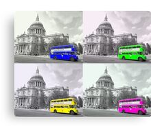 Warhol Style Coloured Routemasters Canvas Print
