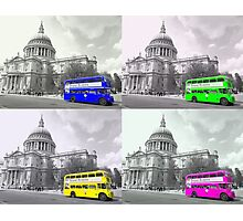 Warhol Style Coloured Routemasters Photographic Print