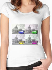 Warhol Style Coloured Routemasters Women's Fitted Scoop T-Shirt