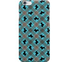 Scottie Dog Turquoise Plaid Pattern iPhone Case/Skin