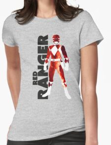 MMPR Red Ranger Print Womens Fitted T-Shirt