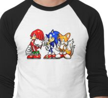 Knuckles,Sonic & Tails Men's Baseball ¾ T-Shirt