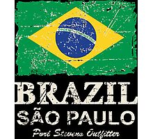 Brazil Flag - Vintage Look Photographic Print